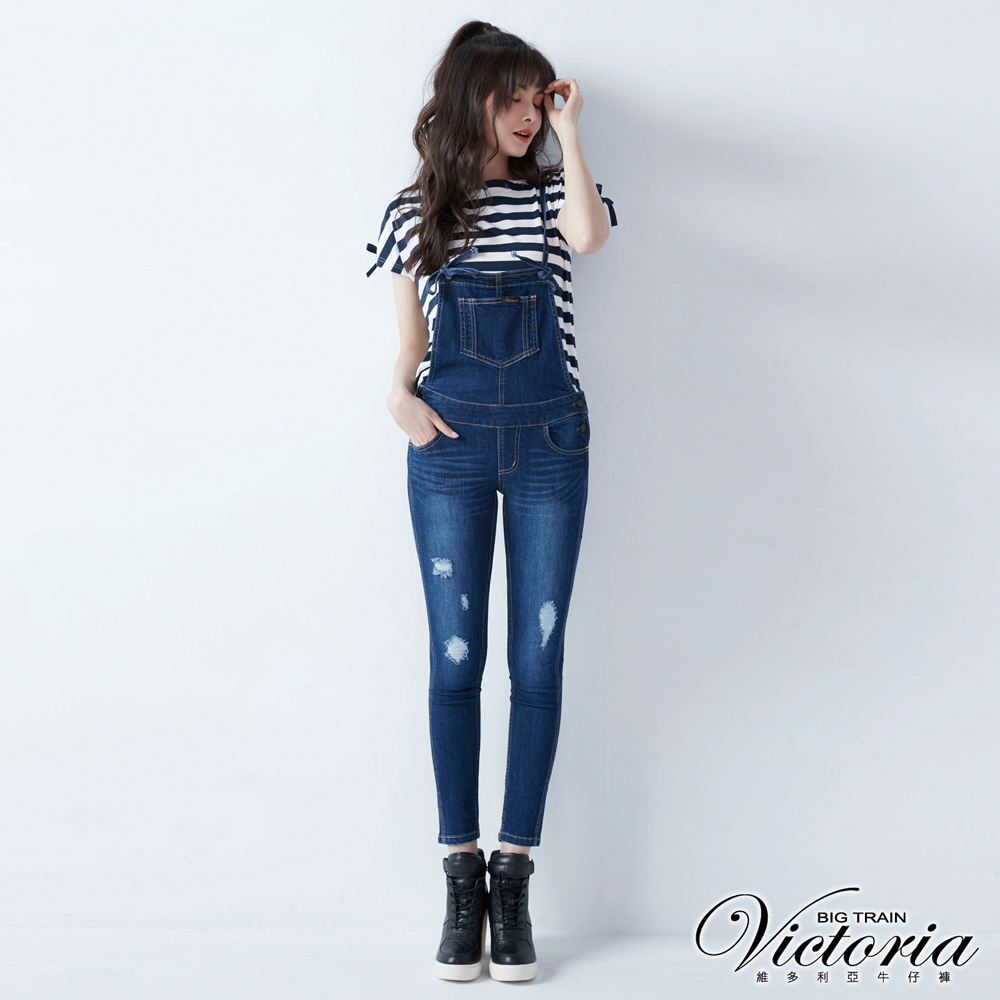 Victoria 深藍吊帶割破9分窄管褲-女-深藍