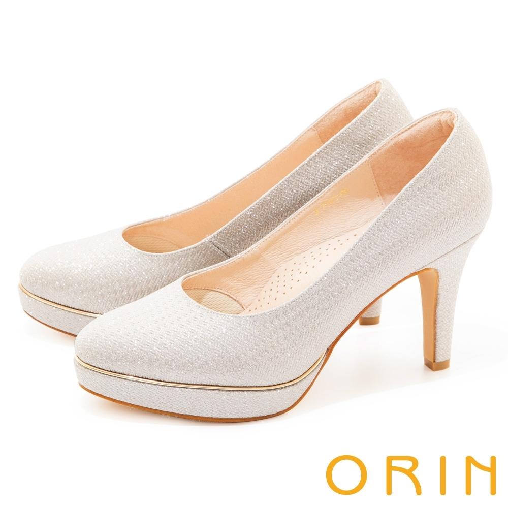 ORIN 閃耀金蔥金屬花嫁 女 高跟鞋 銀色