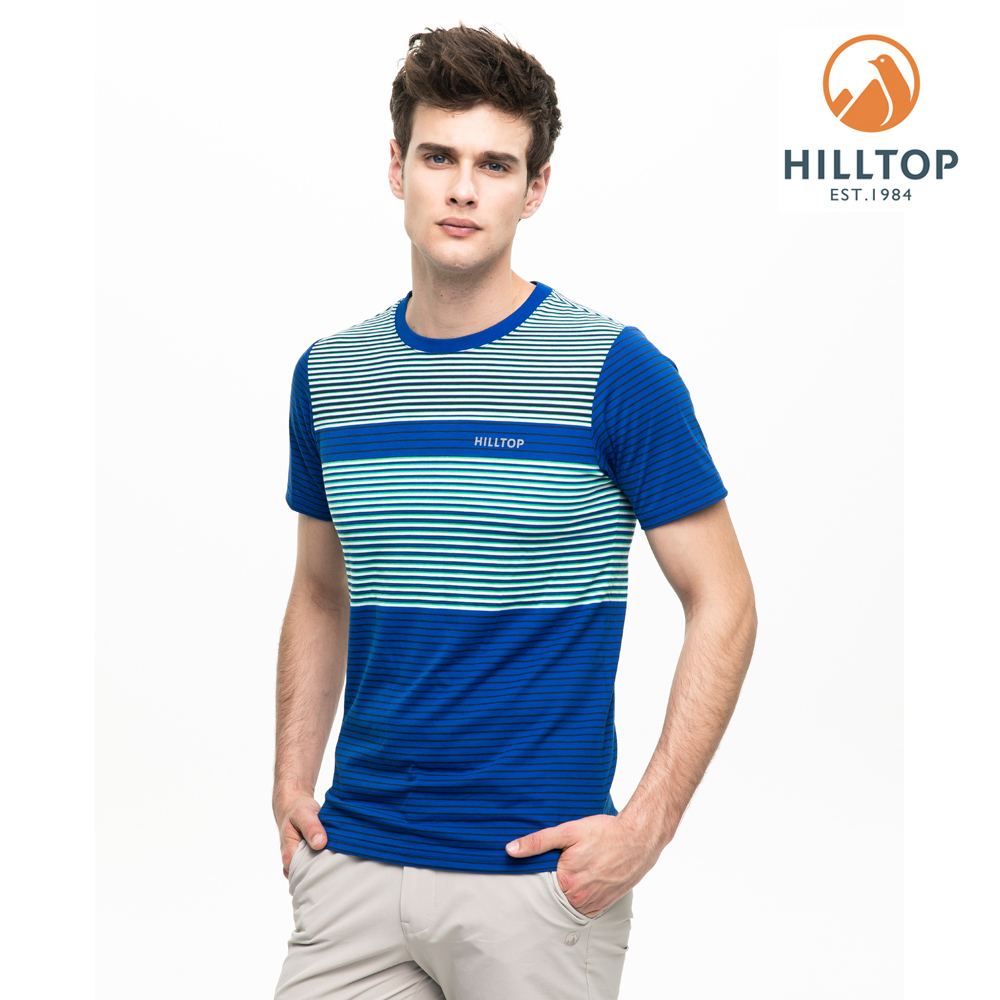 【hilltop山頂鳥】男款吸濕快乾抗菌彈性T恤S04MC4藍/白