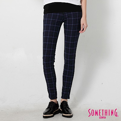 SOMETHING LADIVA伸縮窄直筒牛仔褲-女-格紋藍