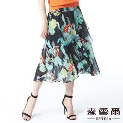 【麥雪爾】古典水墨印花不規則雪紡長裙