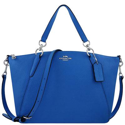 COACH 藍色荔枝紋皮革波士頓包/兩用包