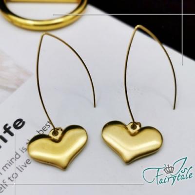 iSFairytale伊飾童話 全心的愛 鈦鋼玫瑰金長型垂墜耳環