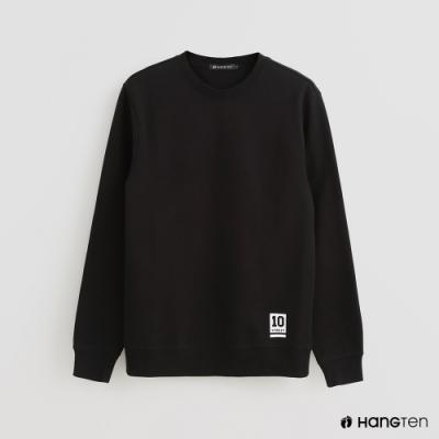 Hang Ten - 男裝 - 簡約風素面圓領長袖上衣 - 黑