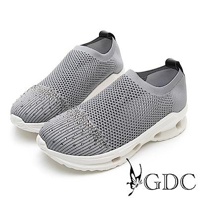 GDC-水鑽飛織舒適流線風休閒鞋-灰色