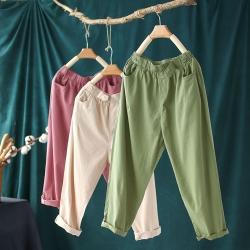 純棉輕薄鬆緊腰寬鬆百搭顯瘦九分褲子三色可選-設計所在