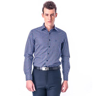 金‧安德森 紅藍格紋窄版長袖襯衫