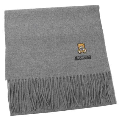 MOSCHINO 刺繡小熊圖樣羊毛圍巾(淺灰)
