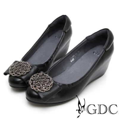 GDC-真皮氣質典雅貴氣水鑽蝴蝶結圓頭內增高包鞋-黑色