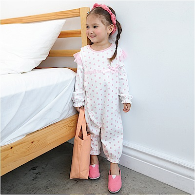 baby童衣 水玉點點蕾絲飛袖連身衣 61083