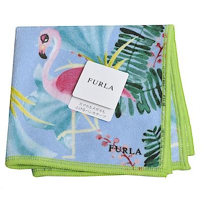 FURLA  品牌動物畫布風格小方巾(紅鶴)