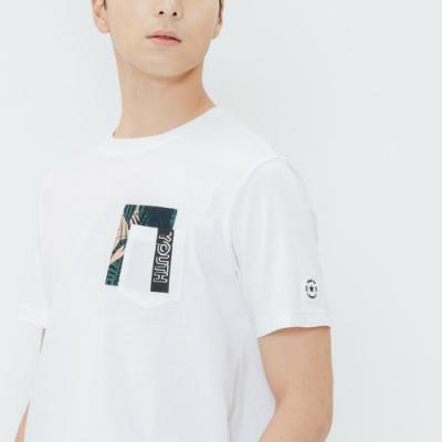 H:CONNECT 韓國品牌 男裝-拼貼印花口袋T-shirt-白