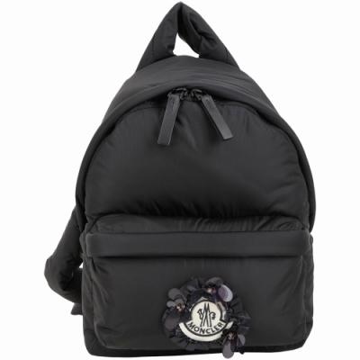 MONCLER Simone Rocha 花朵徽章黑色尼龍後背包