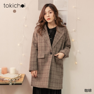 東京著衣 都會休閒V領格紋雙口袋磨毛厚外套