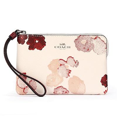 COACH 紅色花卉圖案 PVC皮革L型拉鍊手拿包-白/紅