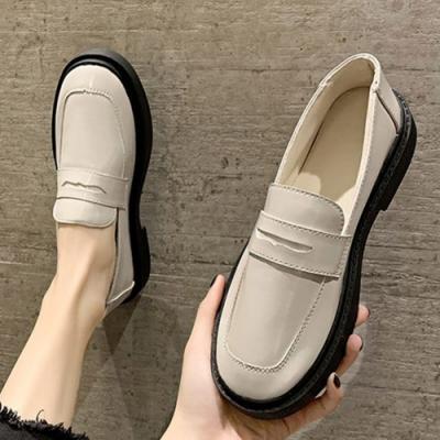 KEITH-WILL時尚鞋館 氣質厚底素面樂福鞋-米