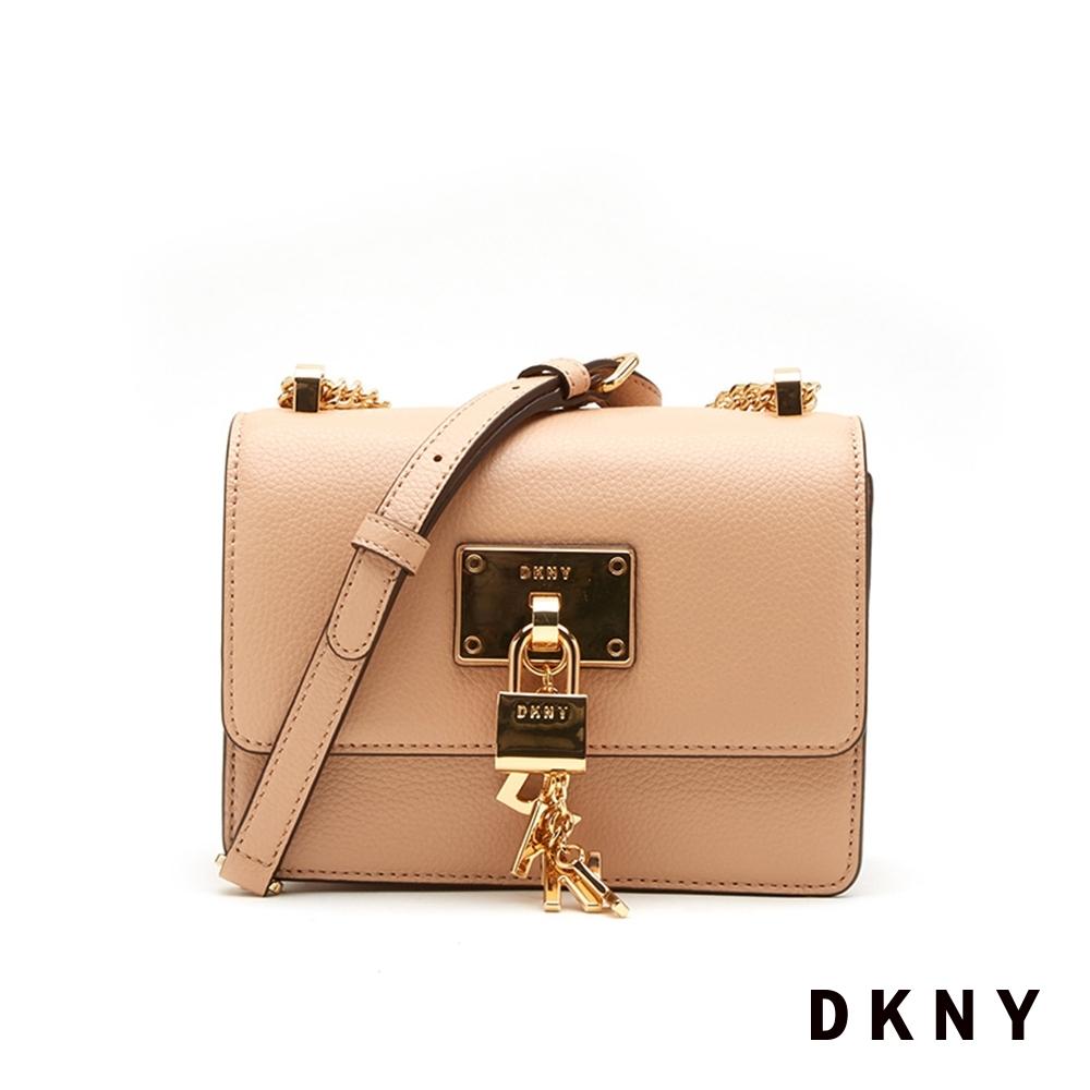 DKNY LOGO金屬鎖頭鍊條斜背包 金