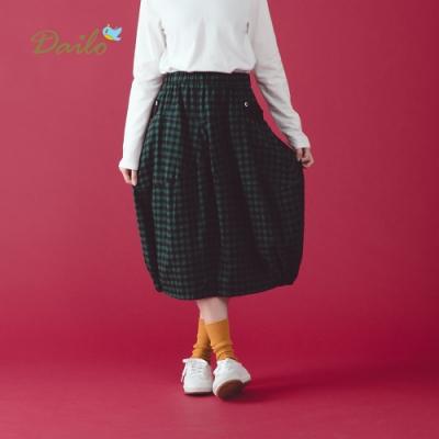 【Dailo】格紋青蛙哈哈笑燈籠-長裙(兩色)