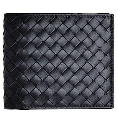 BOTTEGA VENETA 經典皮革皮編織八卡對折短夾(經典黑)