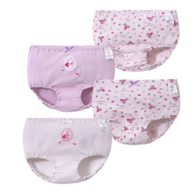【優貝選】愛心兔女童純棉透氣三角包屁小內褲四入組-粉紫色