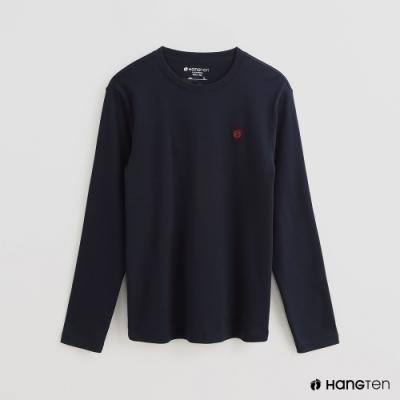 Hang Ten - 男裝 - 簡約純色小刺繡棉質圓領上衣 - 藍
