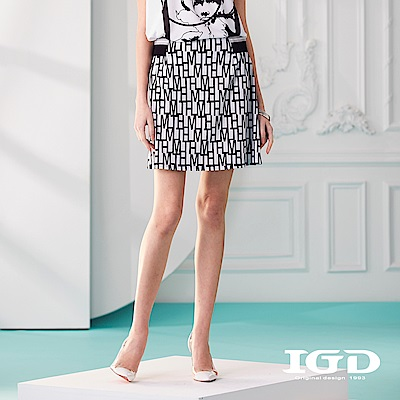 IGD英格麗 字母幾何印花短裙及膝裙-白色