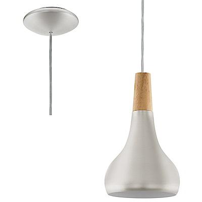EGLO歐風燈飾 木紋雙色圓弧曲線單燈式吊燈(不含燈泡)