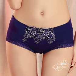 內褲  貴氣刺繡蠶絲內褲-藍 La Queen