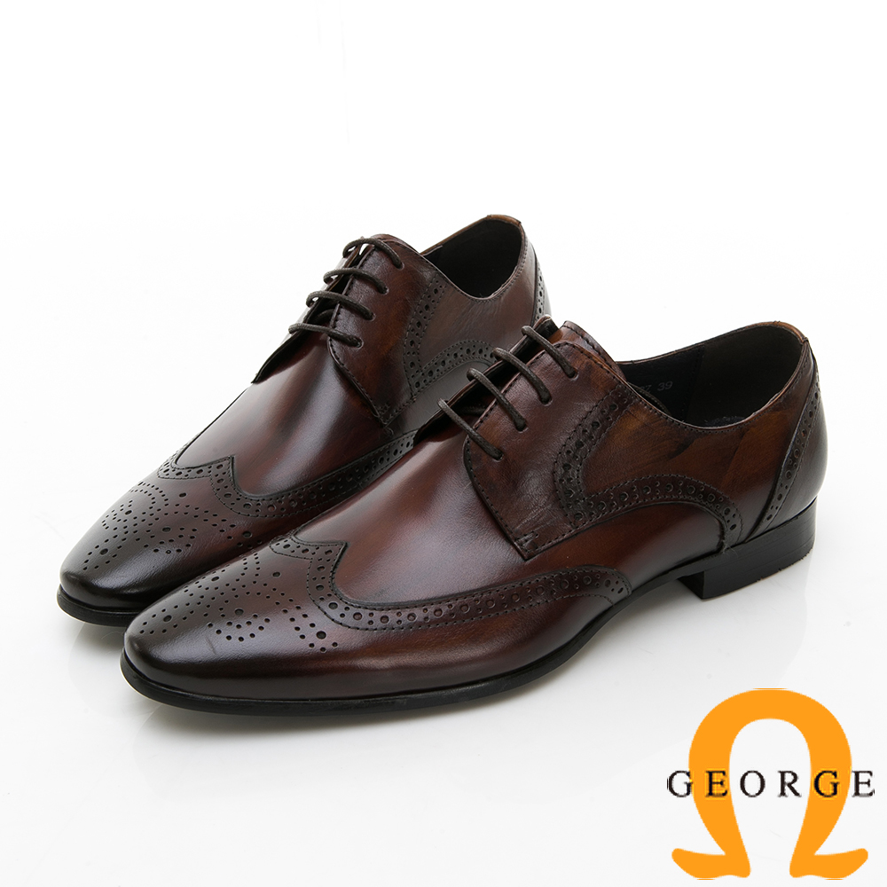 【Amber】尊爵時尚 漸層雕花綁帶紳士皮鞋-棕色