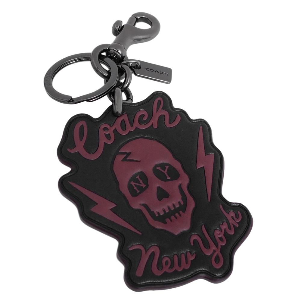 COACH黑色真皮酒紅骷髏頭圖印雙扣環鑰匙圈