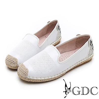 GDC-逗趣貓咪真皮沖孔質感基本簡約平底草編漁夫鞋-白色