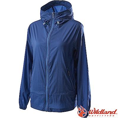 Wildland 荒野 0A62905-72深藍色 女15D防潑水高透氣外套