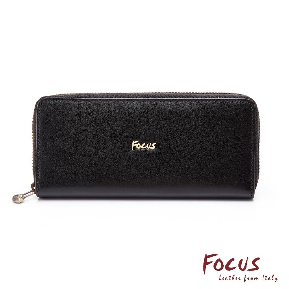FOCUS原皮時尚黑長夾拉鍊包(FGC3472)