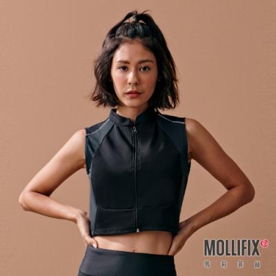 Mollifix 瑪莉菲絲 撞色短版拉鍊訓練背心 (黑)
