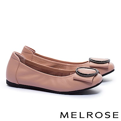 娃娃鞋 MELROSE 內斂知性閃鑽飾舒適全真皮娃娃鞋-粉