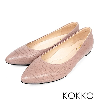 KOKKO - 經典彎折尖頭菱格壓紋羊皮平底鞋 - 中性灰