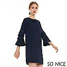SO NICE優雅蕾絲層次袖羅馬布洋裝