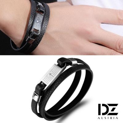 DZ 十字呢喃牛皮多圈繞 316L白鋼手環(黑系)