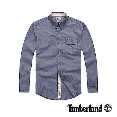 Timberland 男款湛藍色長袖仿舊襯衫|A12NP