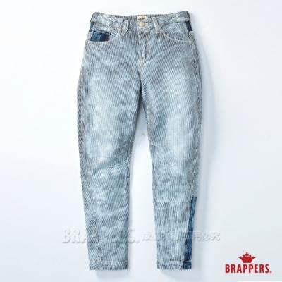 BRAPPERS 女款 Boy friend系列-中低腰彈性八分反摺褲-雪花藍