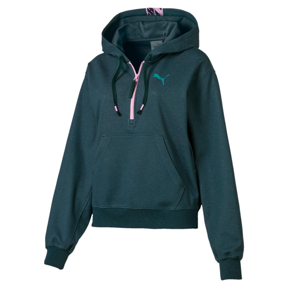 PUMA-女性訓練系列Feel it織帶長厚連帽T恤-西黃松-歐規