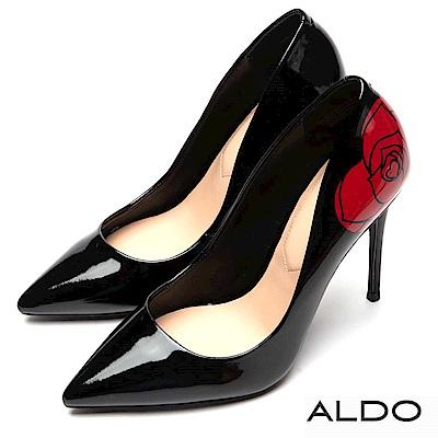 ALDO 原色佐羊皮鞋墊亮面尖頭細高跟鞋~尊爵黑色