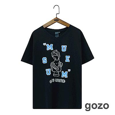 gozo 趣味雕像設計印花棉T(二色)