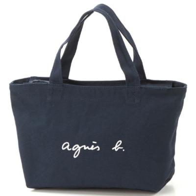 agnes b. Voyage 帆布 logo 小型托特包 (深藍)