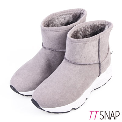 TTSNAP雪靴-簡約撞色運動輕量短筒靴 灰