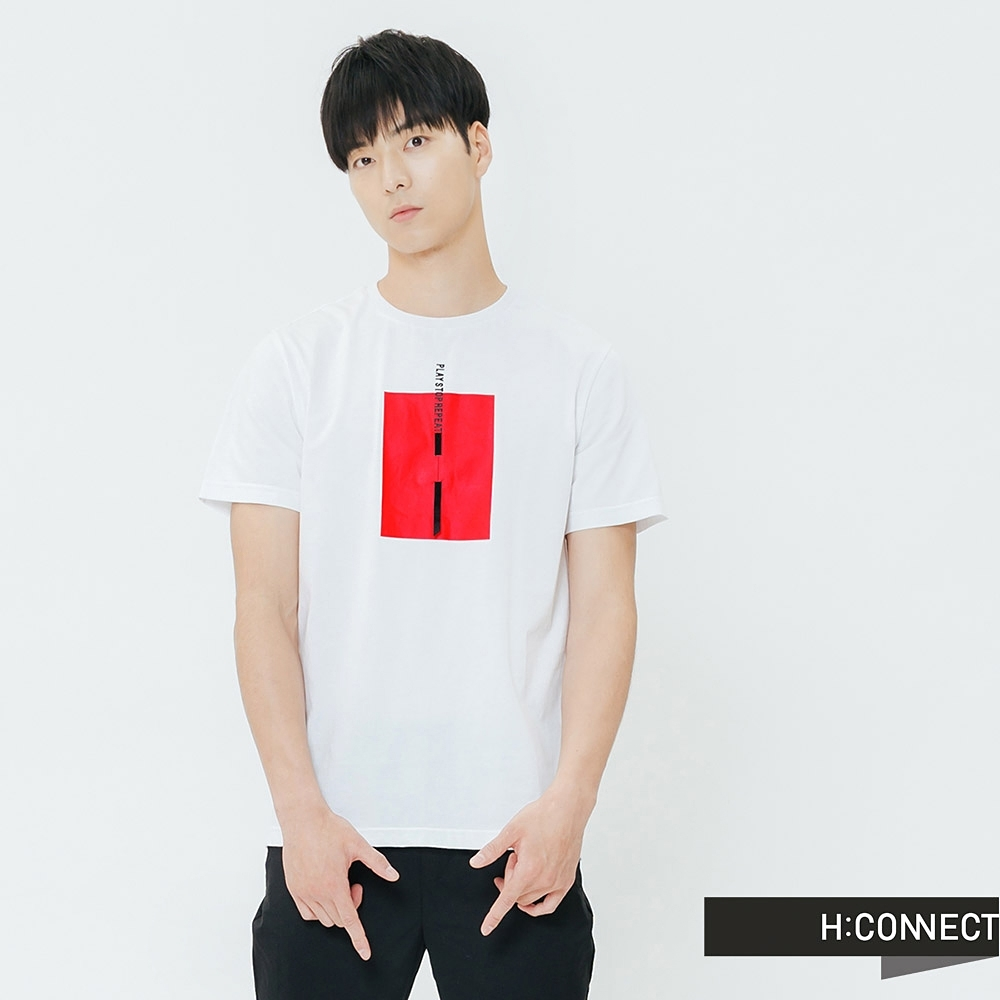 H:CONNECT 韓國品牌 男裝-亮眼色塊標語T-shirt-白