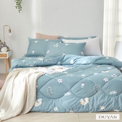 DUYAN竹漾-舒柔棉-雙人床包組+可水洗羽絲絨被-日向草原