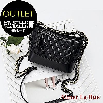 Aimer La Rue 時尚亮面菱格側背包(黑色)(絕版出清)