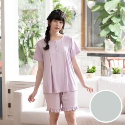 華歌爾睡衣-睡眠研究所 M-L短袖睡衣褲(藍綠) 膠原蛋白纖維