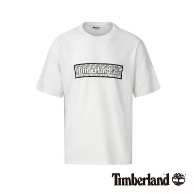 Timberland 男款白色品牌印花短袖圓領T恤|A1NB5